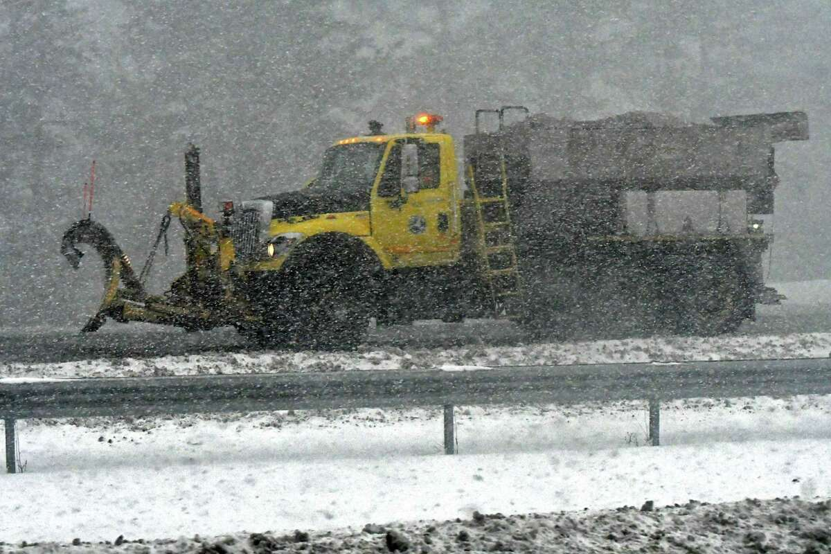 A snow squall causes whiteout conditions on interstate 90 on Wednesday, Jan. 30, 2019 in Guilderland, N.Y. (Lori Van Buren/Times Union)
