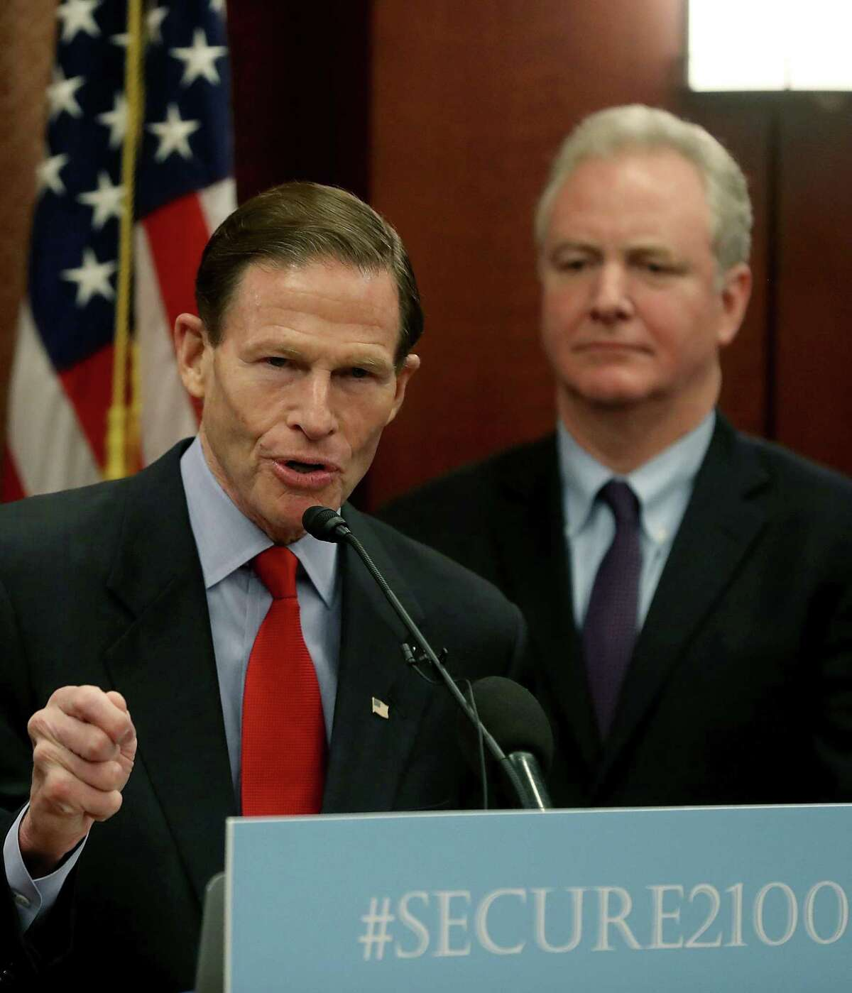 Sen. Richard Blumenthal (D-CT) speaks while flanked by Sen. Chris Van Hollen (D-MD) during an event to introduce legislation called the Social Security 2100 Act. which would increase increase benefits and strengthen the fund, during a news conference on Capitol Hill January 30, 2019 in Washington, DC.