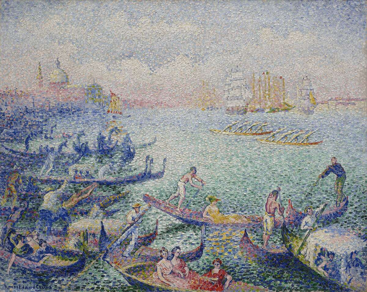 """Henri Edmond Cross' painting """"Regatta in Venice"""" was given to the Museum of Fine Arts, Houston in 1958 by Oveta Culp Hobby."""