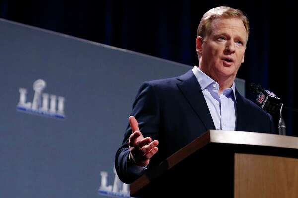 ATLANTA, GA - JANUARY 30: NFL Commissioner Roger Goodell speaks during a press conference during Super Bowl LIII Week at the NFL Media Center inside the Georgia World Congress Center on January 30, 2019 in Atlanta, Georgia.
