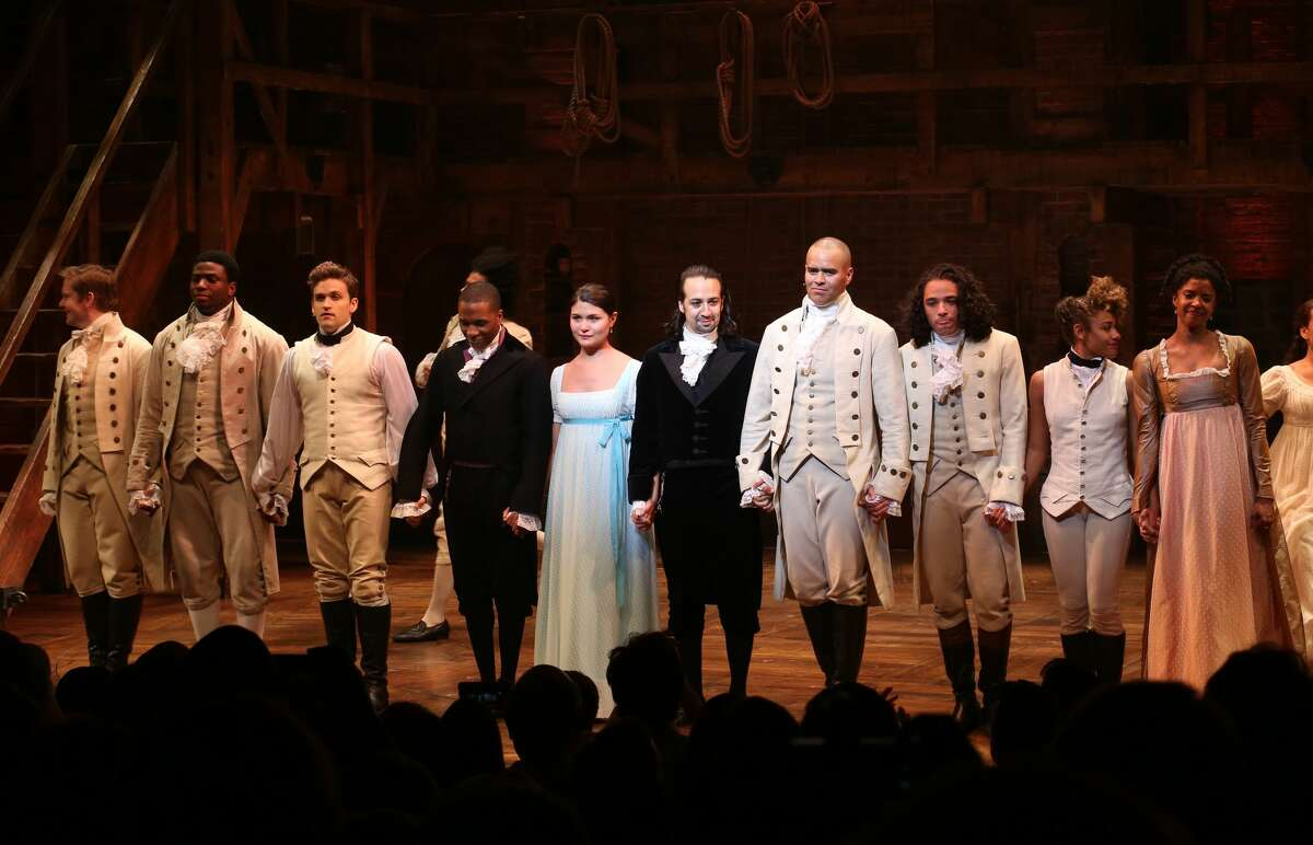 Leslie Odom Jr., Phillipa Soo and Ariana DeBose with Lin-Manuel Miranda with the cast during their final performance curtain call of 'Hamilton' on Broadway at Richard Rodgers Theatre on July 9, 2016 in New York City. (Photo by Walter McBride/WireImage)