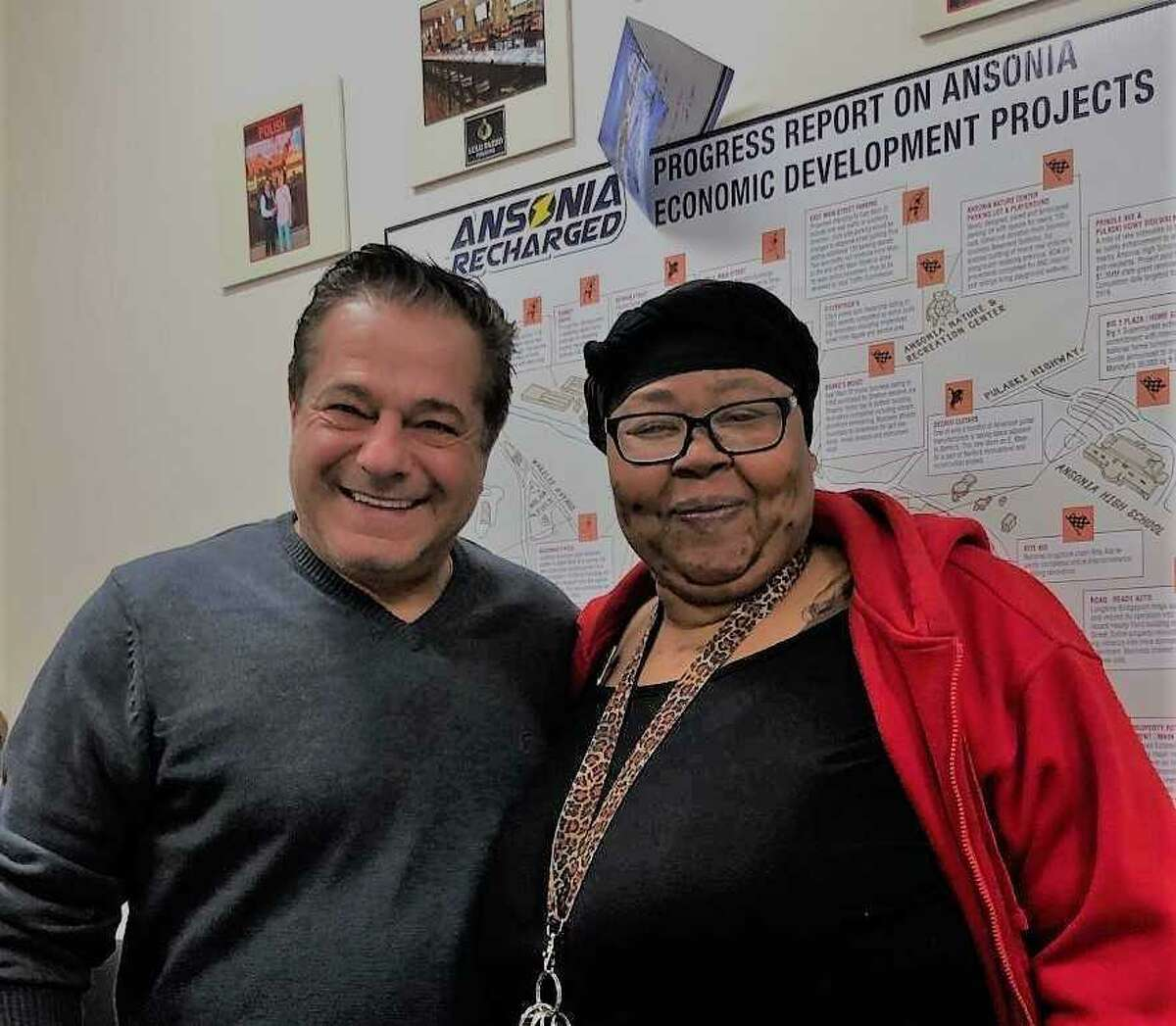 Ansonia Mayor David Cassetti and Lakesha Stines, who is poised to launch 'Sober Touch Sensoring' to prevent drunken driving.