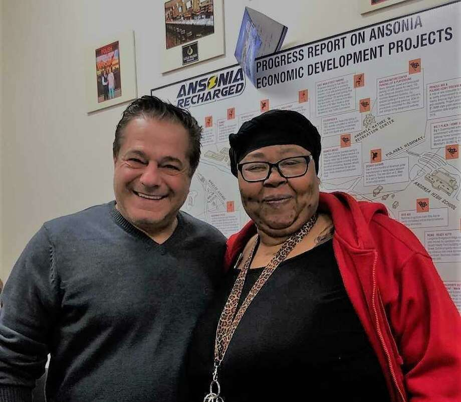 Ansonia Mayor David Cassetti and Lakesha Stines, who is poised to launch 'Sober Touch Sensoring' to prevent drunken driving. Photo: Contributed / Sheila O'Malley /