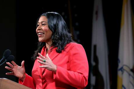 San Francisco Mayor London Breed delivers her State of the City address at the National LGBTQ Center for the Arts. Photo: Yalonda M. James / The Chronicle
