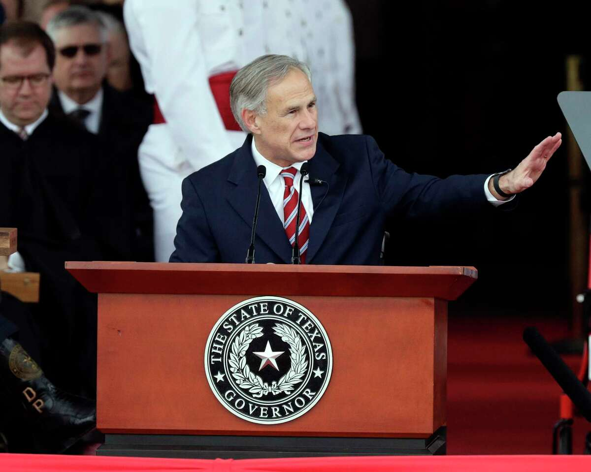 Texas Gov. Greg Abbott speaks during his inauguration ceremony, in Austin, in 2019. How inauguration funds are spent shouldn't be a state secret.