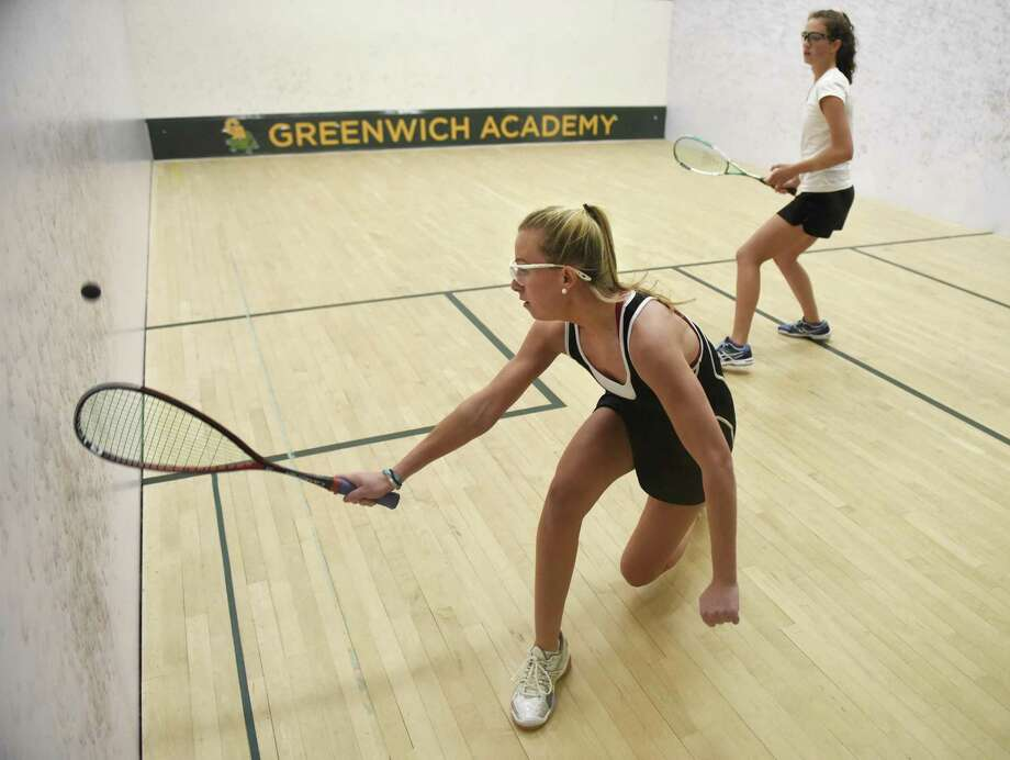 Greenwich Academy's Binney Huffman, left, will play the No. 4 slot when the Gators begin play Friday in the U.S. High School Team Squash Championships at Trinity College in Hartford. Photo: Tyler Sizemore / Hearst Connecticut Media / Greenwich Time