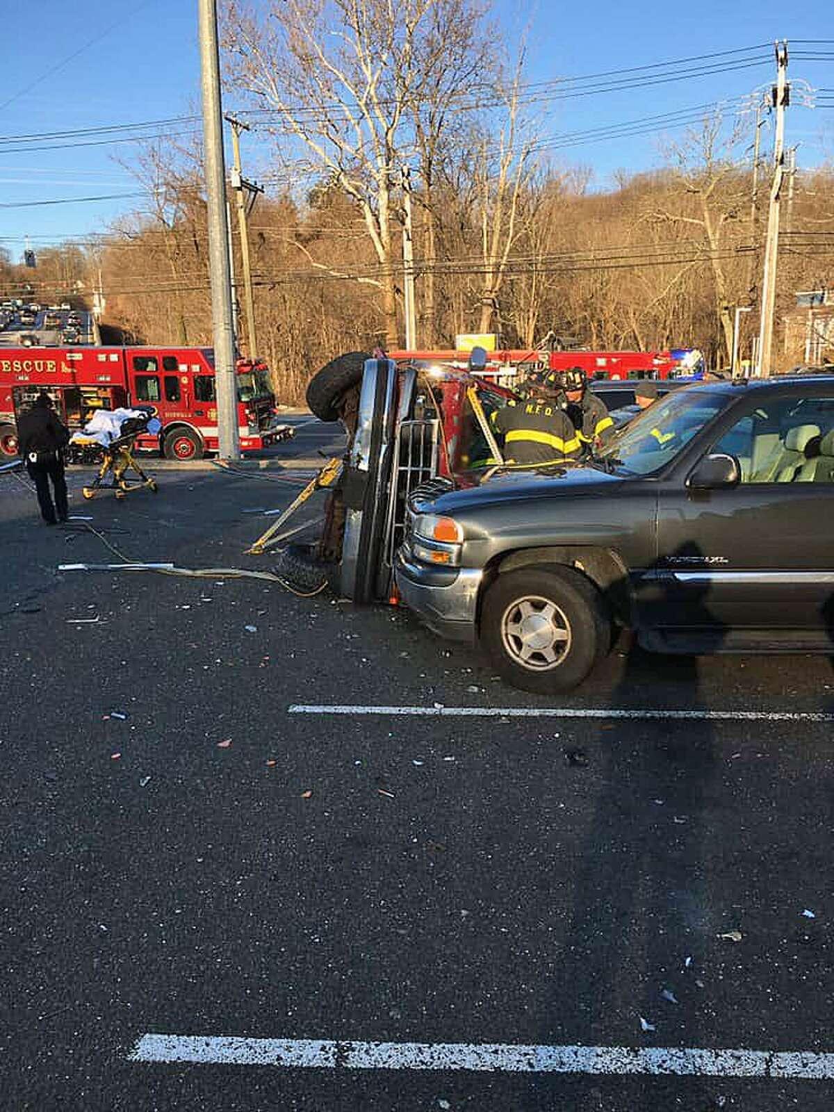 A crash in Norwalk, Conn., on Jan. 30, 2019.