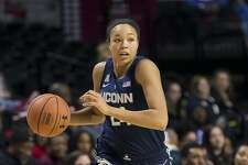 Connecticut's Napheesa Collier brings the ball up the court during the second half of an NCAA college basketball game against Temple, Saturday, Jan. 19, 2019, in Philadelphia. Connecticut won 88-67. (AP Photo/Chris Szagola)