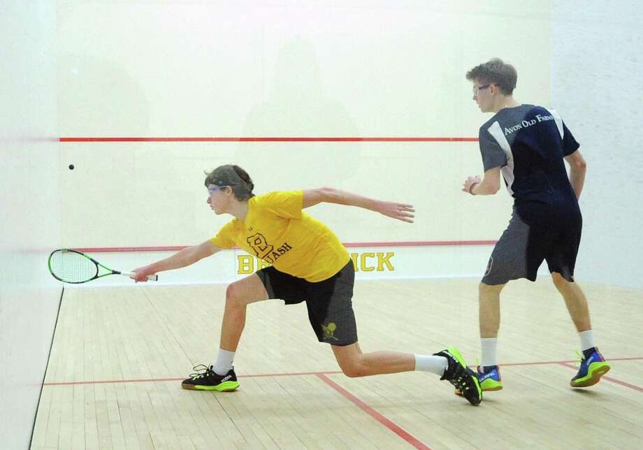 Brunswick's Nick Spizzirri will compete in the No. 1 spot as the Bruins try to repeat as champions at the U.S. High School Team Squash Championships, which open Friday at Trinity College in Hartford. Photo: Bob Luckey Jr. / Hearst Connecticut Media / Greenwich Time