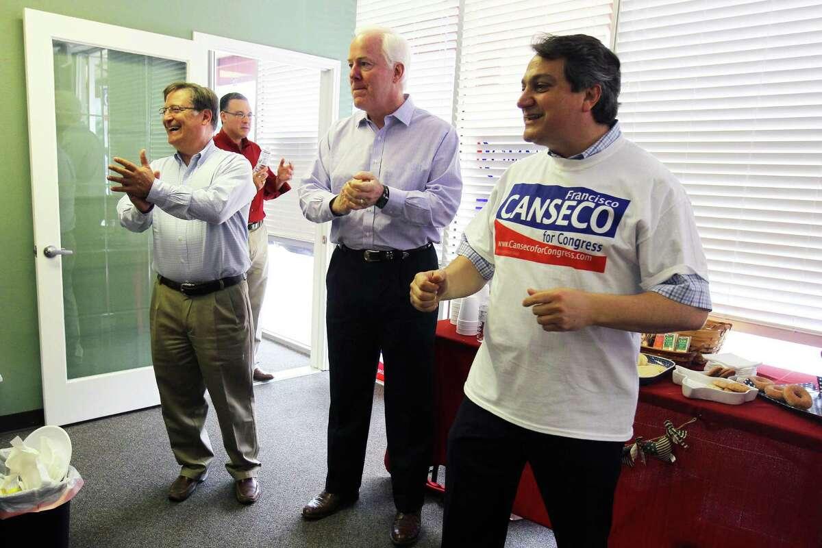 "From left, 2012 Texas State House candidate Francisco ""Quico"" Canseco, United States Senator John Cornyn, and Steve Munisteri. (JENNIFER WHITNEY / SAN ANTONIO EXPRESS-NEWS)"
