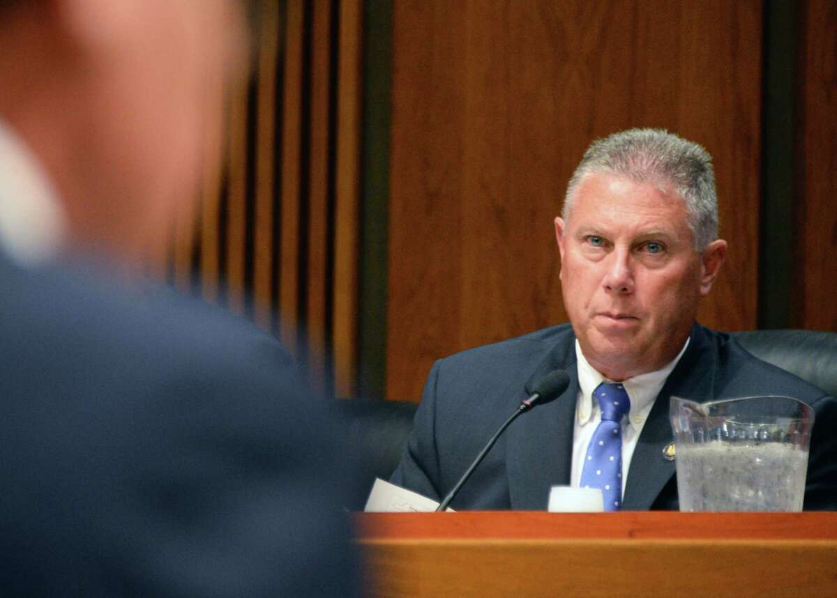 Assemblyman John McDonald listens to testimony from ESD president and CEO Howard Zemsky, left, during a legislative hearing at the LOB on Gov. Cuomo's economic development programs Wednesday Aug. 3, 2016 in Albany, NY. (John Carl D'Annibale / Times Union)