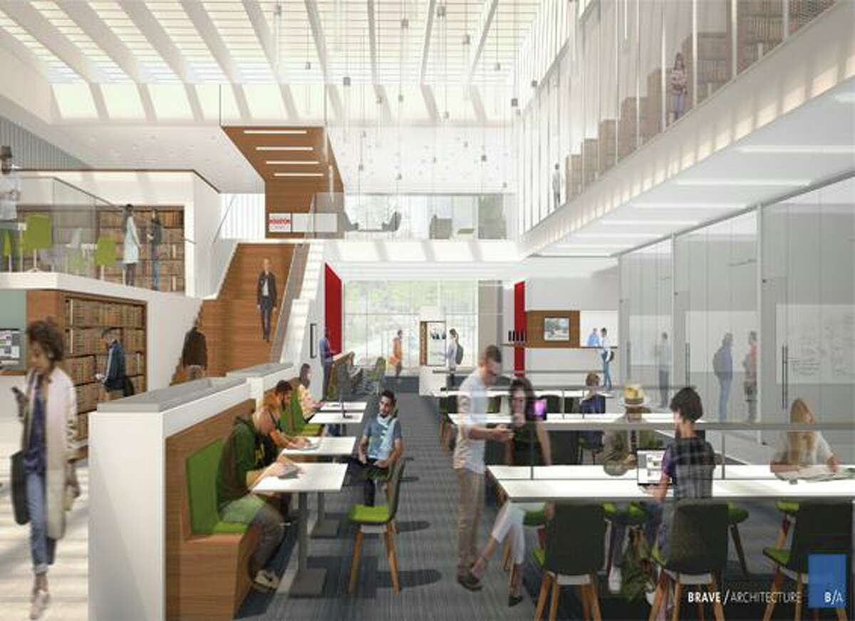 The University of Houston has raised $10 million toward a new law center and is requesting $60 million from state legislators. These preliminary conceptual renderings show the new law center's exterior and an interior view of a new library.