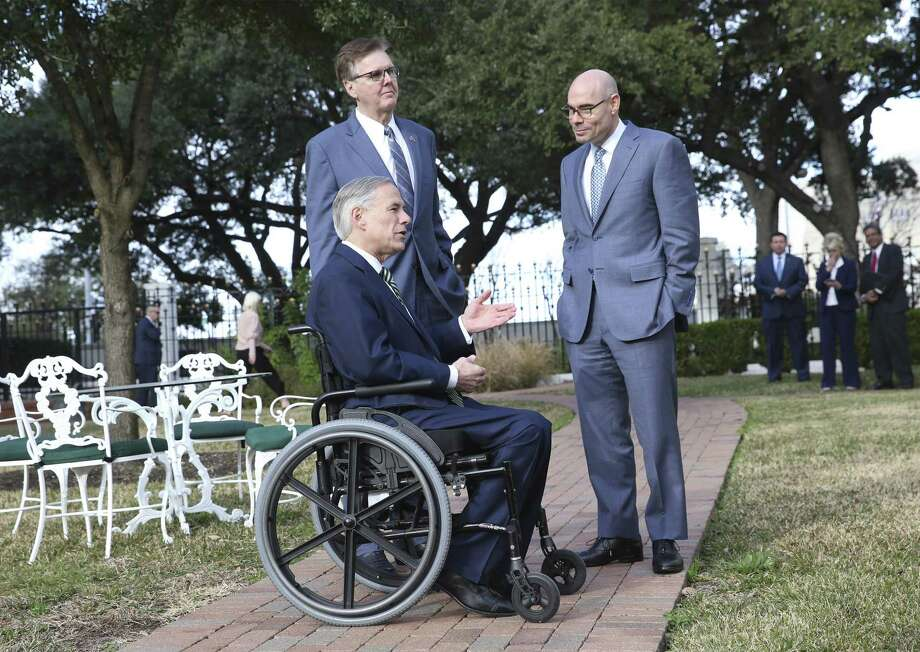 Governor Greg Abbott, Lt. Governor Dan Patrick and Speaker Dennis Bonnen speak at the Governor's Mansion on January 9, 2019. Photo: Tom Reel, Staff / Staff Photographer / 2018 SAN ANTONIO EXPRESS-NEWS