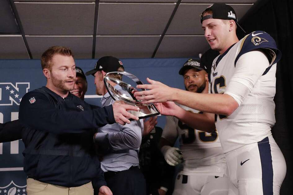 Rams coach Sean McVay, left, and quarterback Jared Goff were able to get their hands on the NFC championship trophy and are a win away from the franchise's second Super Bowl title (and first in Los Angeles).