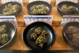 FILE - This Jan. 1, 2018 photo shows marijuana on display at Harborside marijuana dispensary in Oakland, Calif. A group of Democratic state lawmakers are proposing major tax cuts for the marijuana industry to jump-start's California's sluggish legal marketplace. The bill Assemblyman Rob Bonta of Oakland and others introduced Monday, Jan. 28, 2019 would for the next three years eliminate the state's $148 per pound cultivation tax and reduce the state's 15 percent excise tax on retail sales to 11 percent. (AP Photo/Mathew Sumner, File)