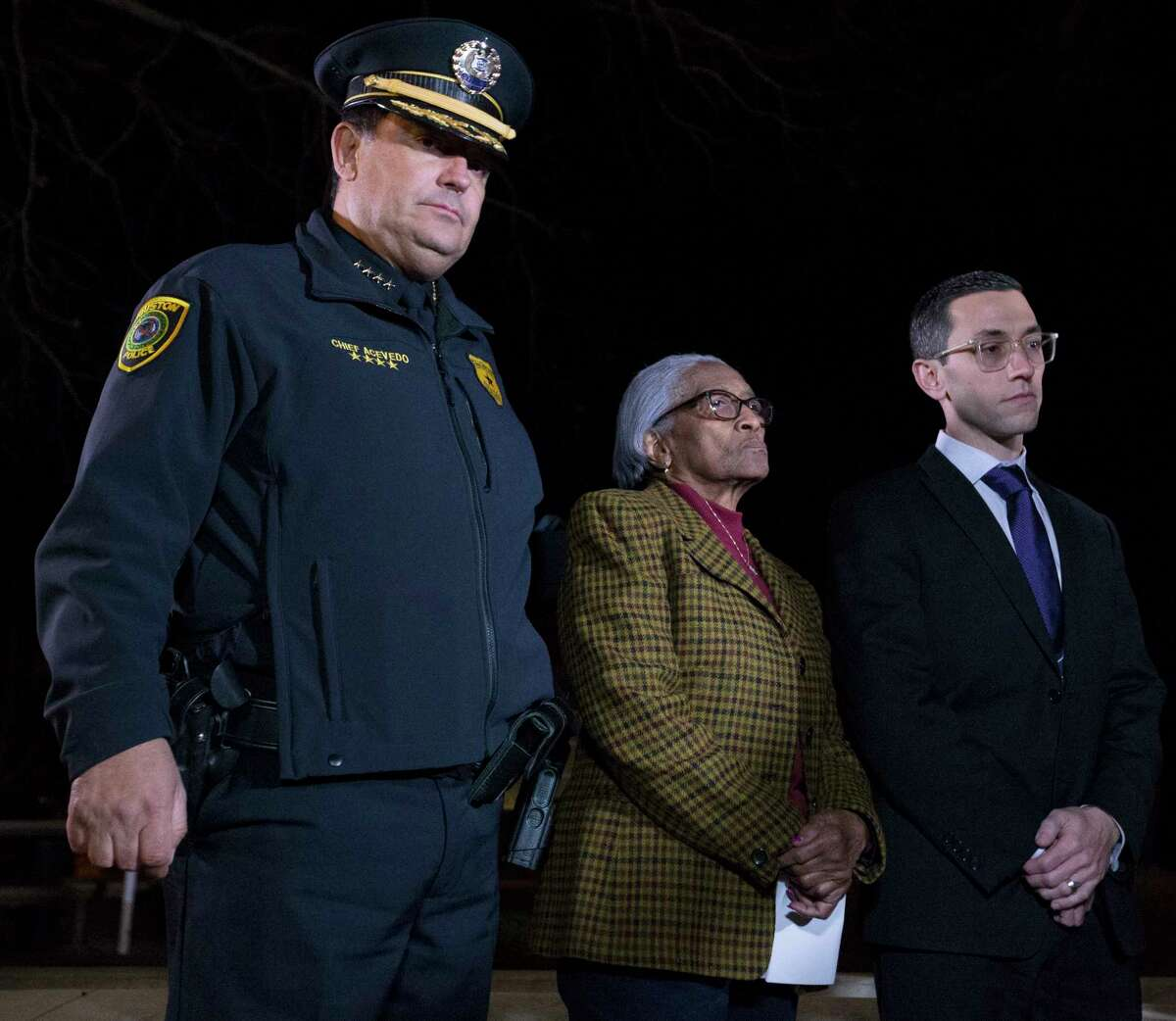 Houston Police Chief Art Acevedo, from left, Era Howard, mother of murdered officer Elston Howard, and Houston Police Officers' Union President Joseph Gamaldi are photographed during a press conference after Robert Jenning's execution on Wednesday, Jan. 30, 2019, in Huntsville. Howard was fatally shot by Jennings on July 19, 1988.