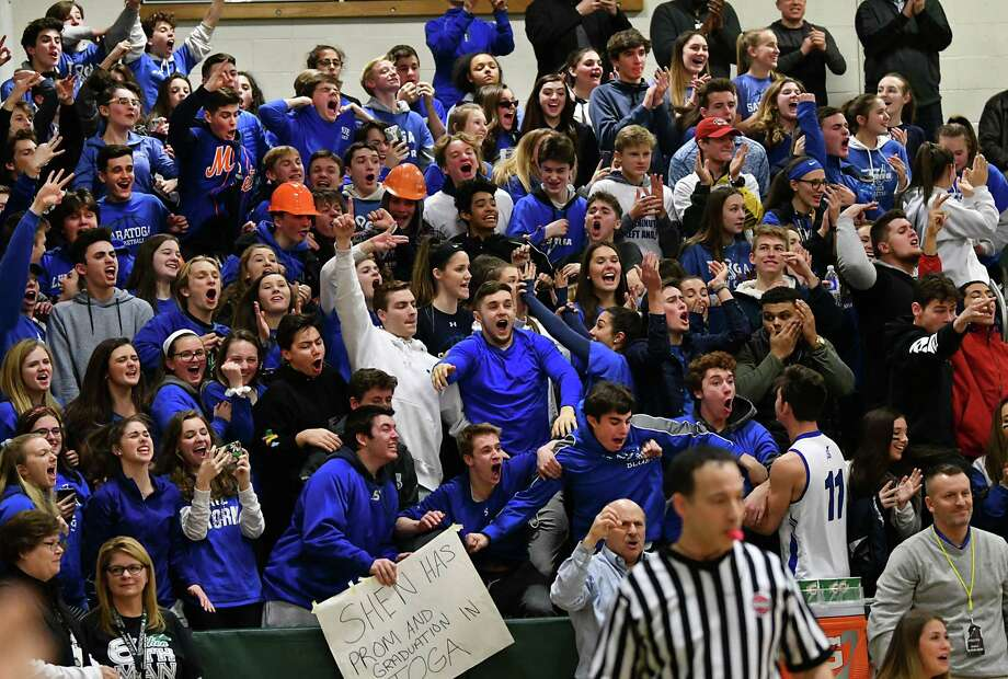 a7533053965e Saratoga fans react as their team takes the lead in the fourth quarter  during a basketball