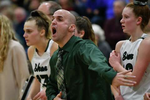 3a43a65fbe22 Shenendehowa girls head coach Joseph Murphy reacts during a basketball game  against Saratoga on Wednesday