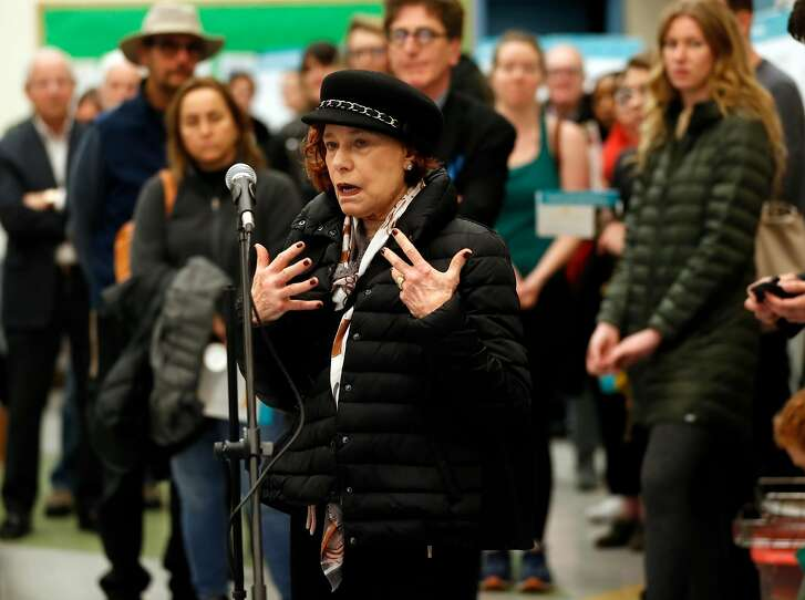 Naomi Mann comments during Lombard Street Community Meeting at Yick Wo Elementary School in San Francisco, Calif., on Wednesday, January 30, 2019.