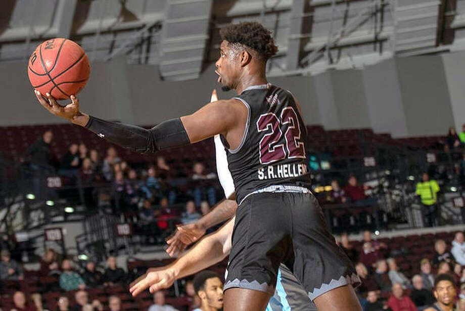 Armon Fletcher of SIU Carbondale, an Edwardsville High grad, drives for a layup against Indiana State Wednesday night at the SIU Arena in Carbondale. Fletcher scored a career-high 34 points in the Salukis' 88-73 Missouri Valley Conference victory. Photo: Saluki Athletics Photo