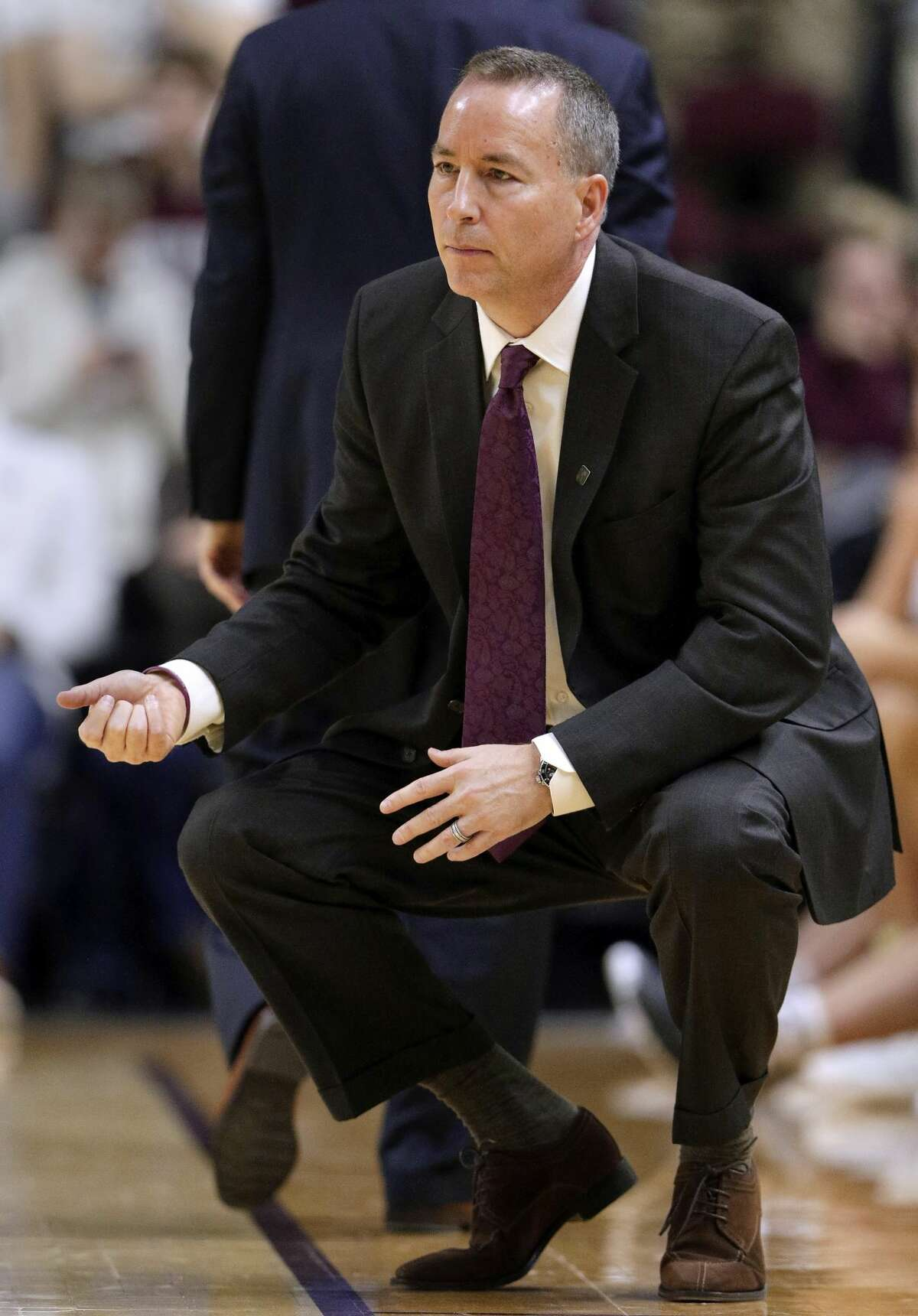 Texas A&M coach Billy Kennedy, in College Station, Texas. (AP Photo/Michael Wyke)