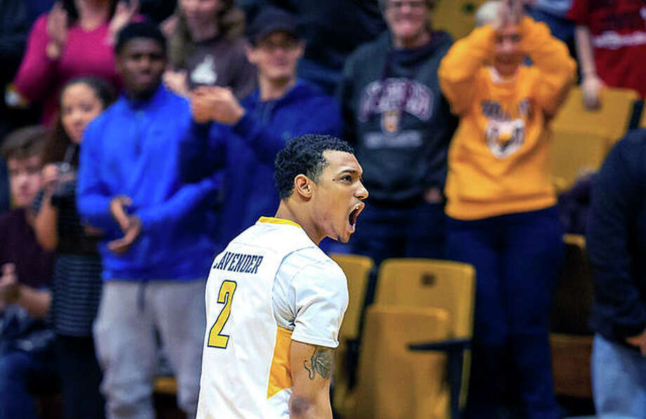Valparaiso's Deion Lavender shouts encouragement to his teammates during a game earlier this season against SIUE in Valparariso, Ind. Lavender, a Marquette Catholic High grad, is a graduate transfer at Valpo from Alabama-Birmingham. Photo: Valparaiso Athletics