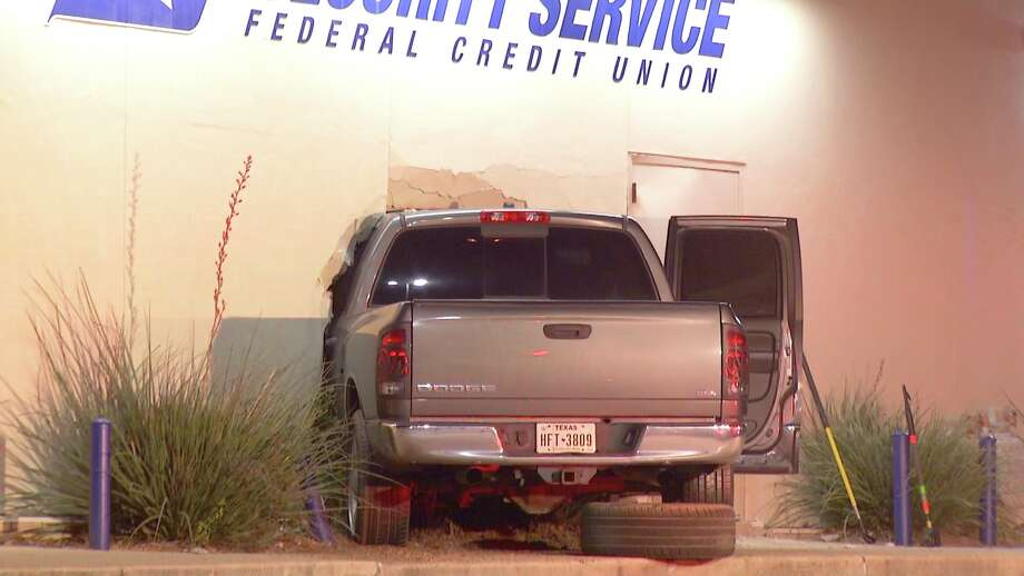 The man left the Whataburger and drove his pickup straight into a Security Services bank at about 12:10 a.m. in the 14000 block of Nacogdoches. Photo: Ken Branca