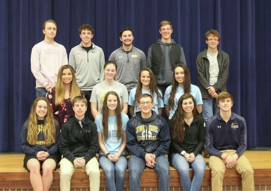 Bad Axe High School recently named its 2019 Snow Carnival candidates. Pictured are, front row, underclassmen representatives: freshman: Madelyn Laskowski and Noah Kervin, sophomores: Ellee Weitenberner and Reece Rapson, juniors: Jelena Prescott and Cody Talaski; middle row, senior queen candidates: Nicole Grigg, Abigail Newland, Caitlin Ruth, Arden Rousseaux, Jailyn Campbell (missing); back row, senior king candidates: Tyler Bismack, Sam MacAlpine, Sam Thompson, Owen Schenk and Joshua Robinson. (Submitted Photo)