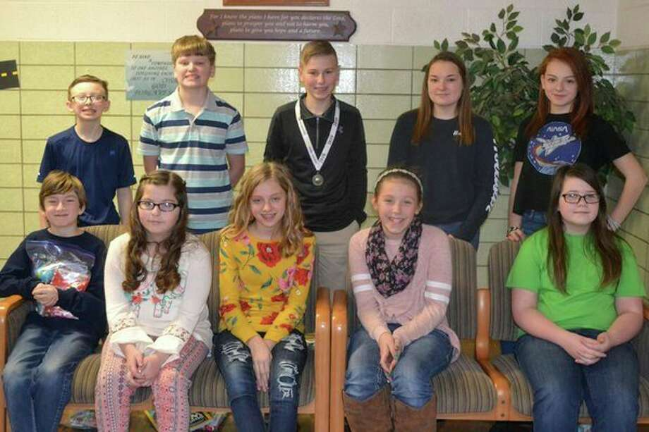 Students who took part in the 2019 Geography Bee on Jan. 17 were (front row): Evan Foley, Peityn Nitzh, Rachel Sattelberg, McKenna Kemp and Maddison Urban; (Back row): Dalton Anderson, Parker Ritchey, Taylor Alderson, Kelsey Nitz and Gabriella Reinbold. (Submitted Photo)