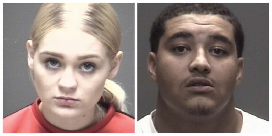 Galveston County police arrested 18-year-old Payton Dominy (left) and 22-year-old Herbert Goeler after officials executed a search warrant and found 433 grams of meth in the bedroom of a Bacliff home off Sevan Street. Photo: Galveston County Sheriff's Office