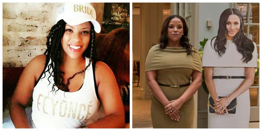 Renata Williams shown pre- and post- surgery to look like Meghan Markle.