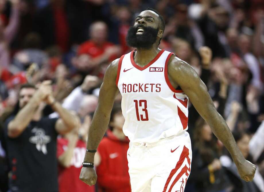 PHOTOS: Rockets vs. Kings Houston Rockets guard James Harden (13) celebrates as he runs upcourt after scoring against the Orlando Magic during the second half of an NBA basketball game at Toyota Center on Sunday, Jan. 27, 2019, in Houston. >>>See photos from the Rockets win over the Kings on Wednesday, Feb. 6, 2019 ... Photo: Brett Coomer/Staff Photographer