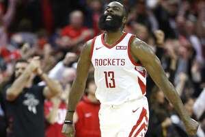 Houston Rockets guard James Harden (13) celebrates as he runs upcourt after scoring against the Orlando Magic during the second half of an NBA basketball game at Toyota Center on Sunday, Jan. 27, 2019, in Houston.