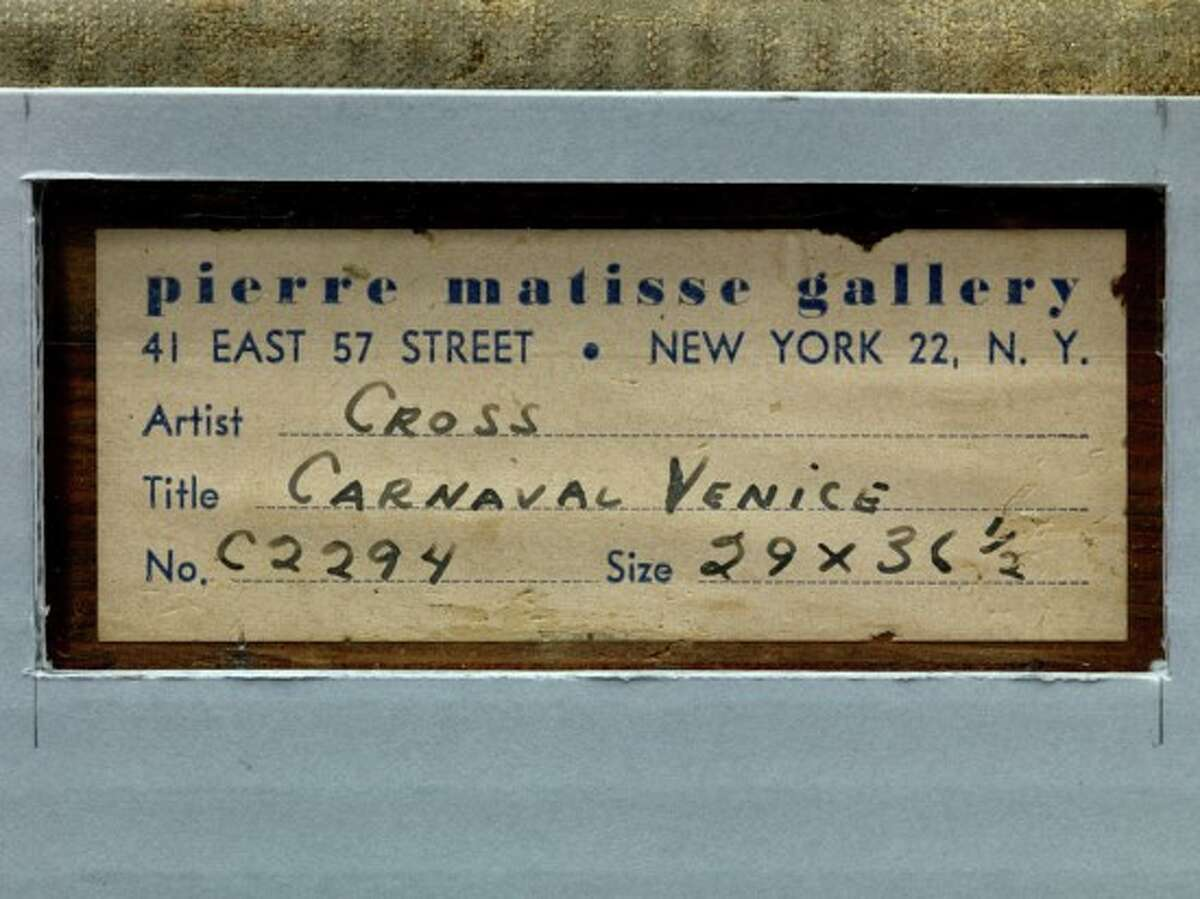 """Labels affixed to the back of Henri Edmond Cross' painting """"Regatta in Venice"""" may offer clues to its history. The MAB inventory number would have been added by Nazi plunderers. The painting later landed in the U.S., where it was shown by New York's Pierre Matisse Gallery."""