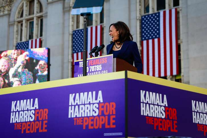 Senator Kamala Harris laughs as she gives a speech at her first presidential campaign rally in her hometown of Oakland, California, on Sunday, Jan. 27, 2019.