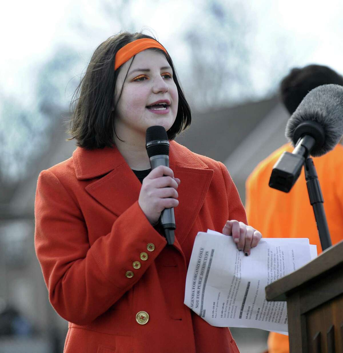 Lane Murdock, 16, a Ridgefield High School student and the founder of The National School Walkout, speaks at the Riddgefiel High School event on April 20, 2018.