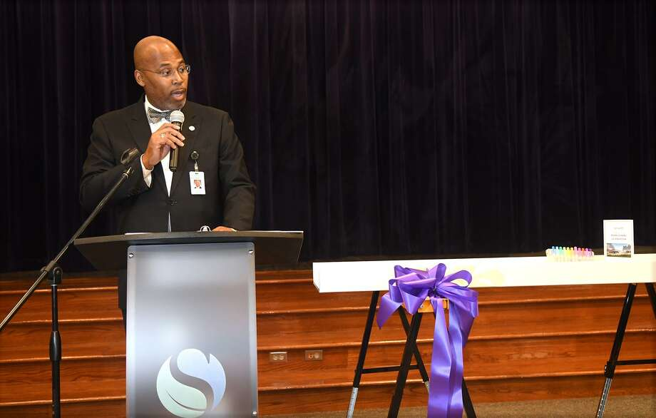 Dr. Rodney E. Watson, Spring ISD Superintendent, makes his remarks during the Middle School #8 Beam-Signing celebration at Northgate Elementary School on Oct. 25, 2018. Photo: Jerry Baker, Houston Chronicle / Contributor / Houston Chronicle