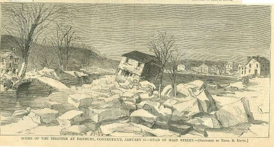 """""""Scene of the Disaster at Danbury, Connecticut,"""" Engraving accompanying article in Harper's Weekly magazine, Feb. 20, 1869, about the Jan. 31, 1869 reservoir disaster. Photo: Harper's Weekly"""