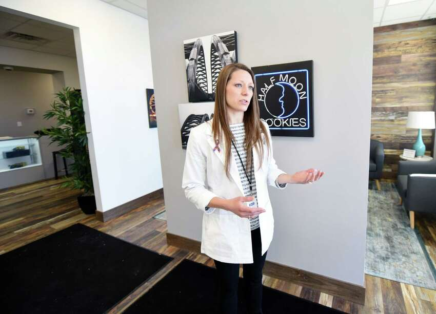 Dispensary manager Katie Ogden gives a tour of Fiorello Pharmaceuticals Thursday, Jan. 31, 2019 in Halfmoon, NY. (Phoebe Sheehan/Times Union)