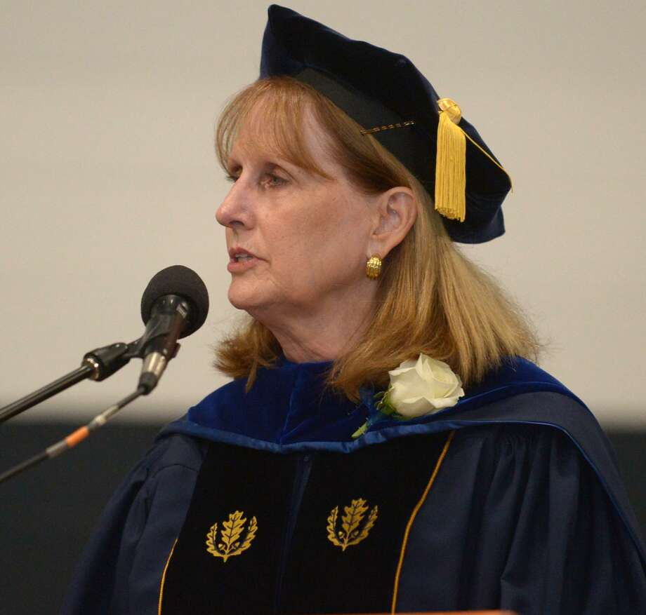 Superintendent of Schools Dr. Colleen Palmer speaks to the graduates during the Staples High School Class of 2018 commencement exercises Friday, June 22, 2018, in Westport, Conn. Photo: Erik Trautmann / Hearst Connecticut Media / Norwalk Hour