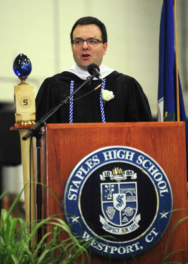Principal James D'Amico address the crowd during the Staples High School Class of 2017 graduation on June 22, 2017, at the school in Westport. Photo: Erik Trautmann / Hearst Connecticut Media / Norwalk Hour