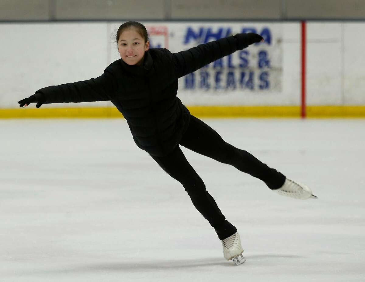 Newly crowned U.S. Women's Figure Skating champion Alysa Liu trains at the Oakland Ice Center in Oakland, Calif. on Thursday, Jan. 31, 2019.