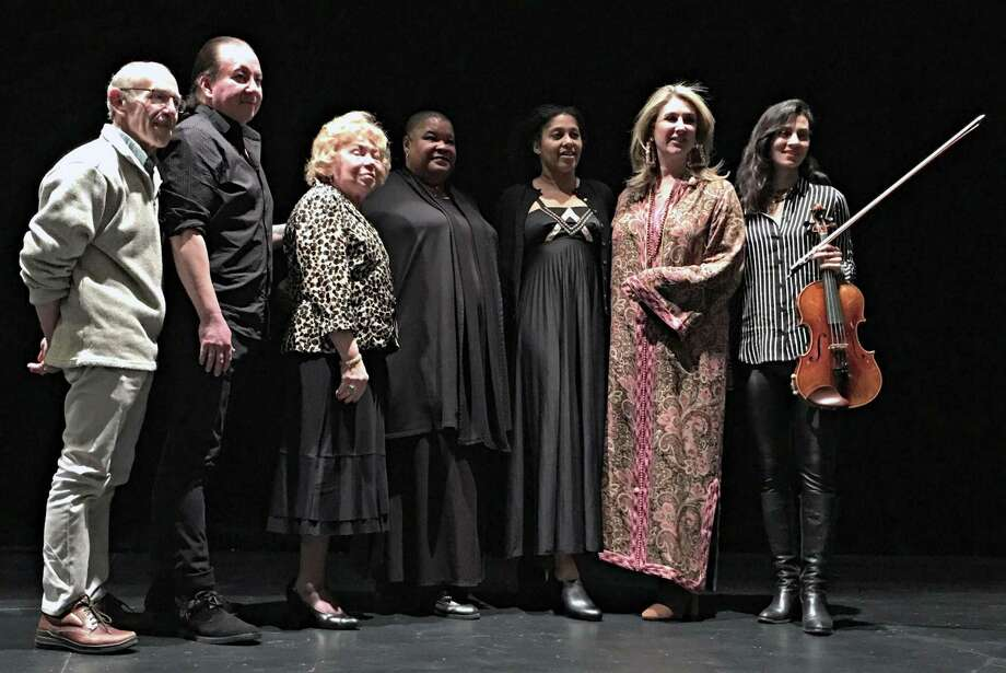 "Dan Woog, far left, with other storytellers at ""The Moth"" show this month. Photo: Contributed Photo"