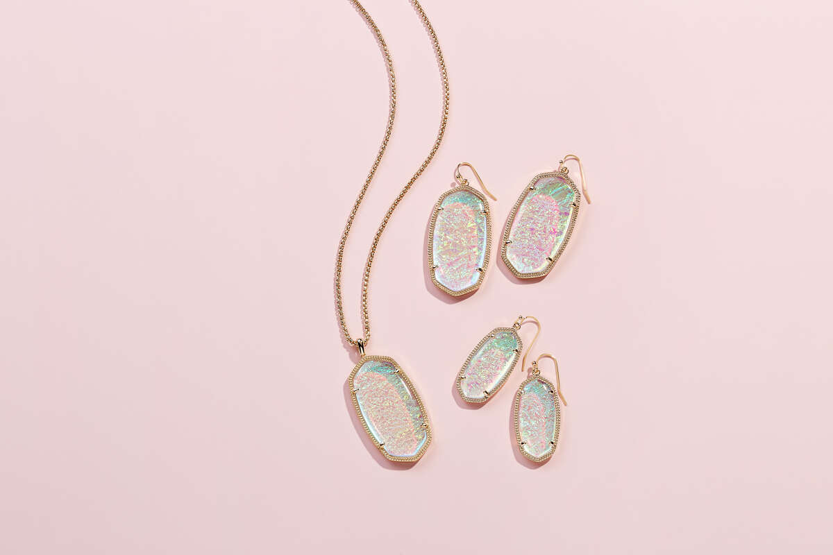 The matching pieces, sold individually, include the Danielle Earrings, Reid Pendant Necklace and Elle Earrings. All are made with iridescent dichroic foil with gold plating. >>> Scroll through to see pieces from Kendra Scott's 2019 jewelry collection.