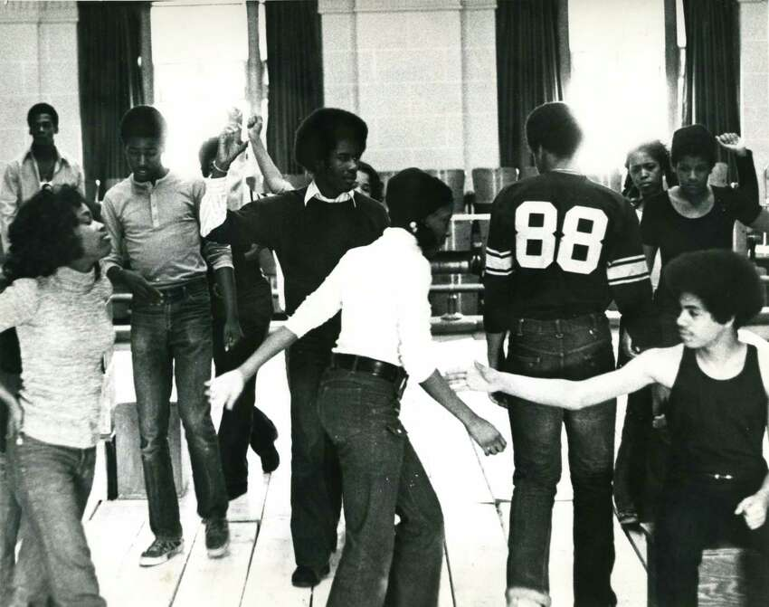 Charlayne Woodard, far left, and other cast members in rehearsals for