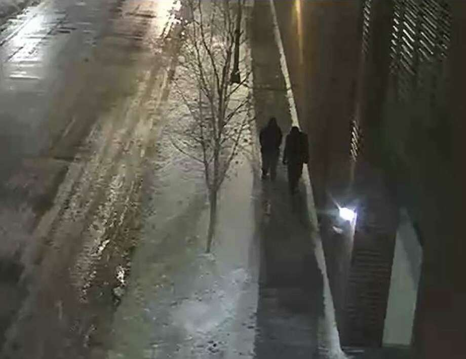 "This image provided by the Chicago Police Department and taken from surveillance video shows two people of interest in an attack on ""Empire"" actor Jussie Smollett walking along a street in the Streeterville neighborhood of Chicago, early Tuesday, Jan. 29, 2019. (Courtesy of Chicago Police Department via AP) Photo: Associated Press"