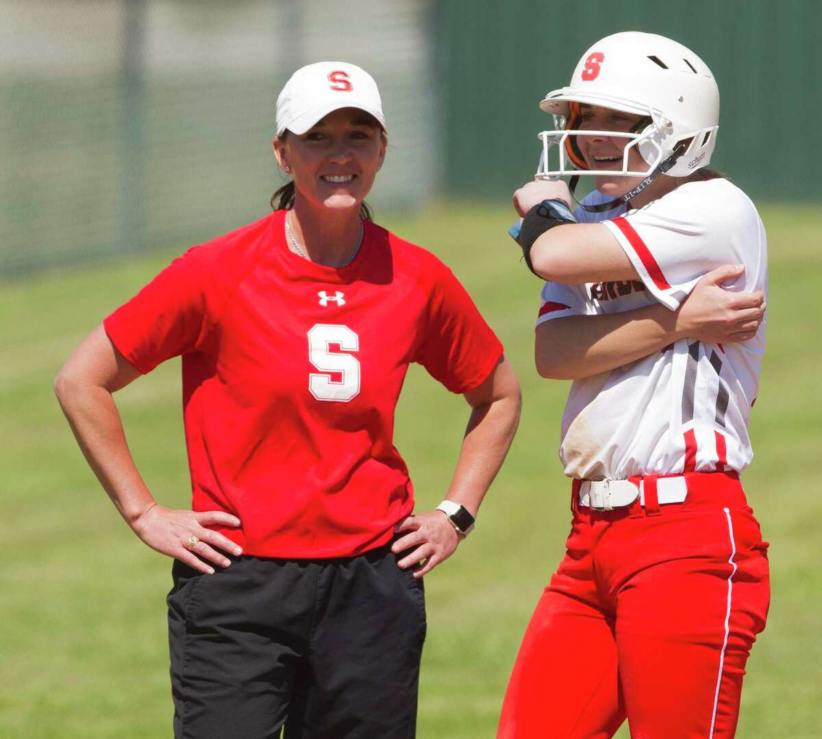 Deana Eubanks, pictured on the left in 2018, is the new assistant athletic director at Splendora. She'll remain the softball coach as well, as she enters her eighth year at the school.