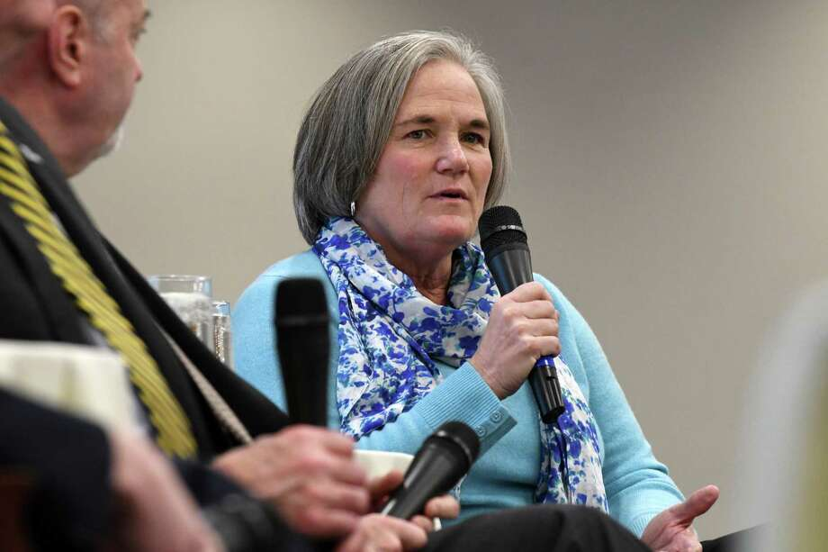Saratoga Springs Mayor Meg Kelly, speaks during a forum with Capital Region mayors on Monday, Dec. 3, 2018, at the Hearst Media Center in Colonie, N.Y., is seeking re-election. (Will Waldron/Times Union) Photo: Will Waldron, Albany Times Union / 20045616A