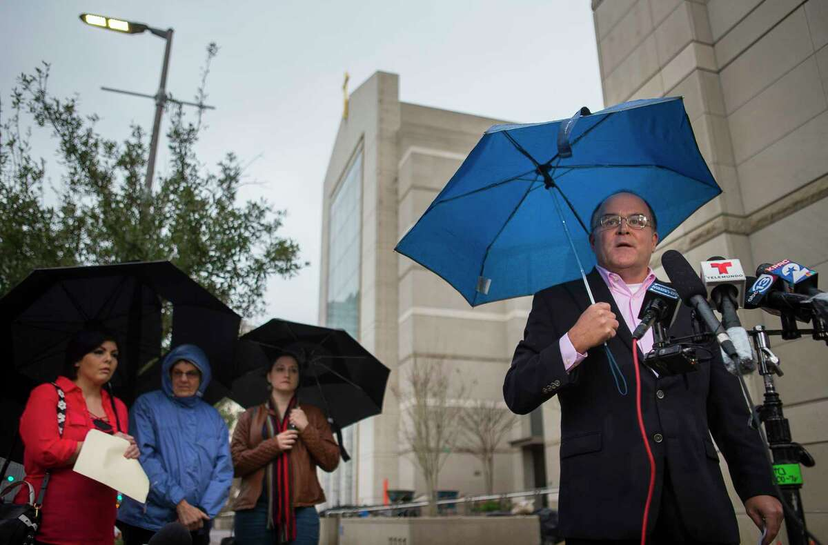 Michael Norris, who leads the Houston chapter of SNAP, the Survivors Network of those Abused by Priests, speaks to the media regarding the list of accused clerics released by the Archdiocese of Galveston / Houston, during a press conference in front of the Co-Cathedral of the Sacred Heart in downtown Houston, Thursday, Jan. 31, 2019.