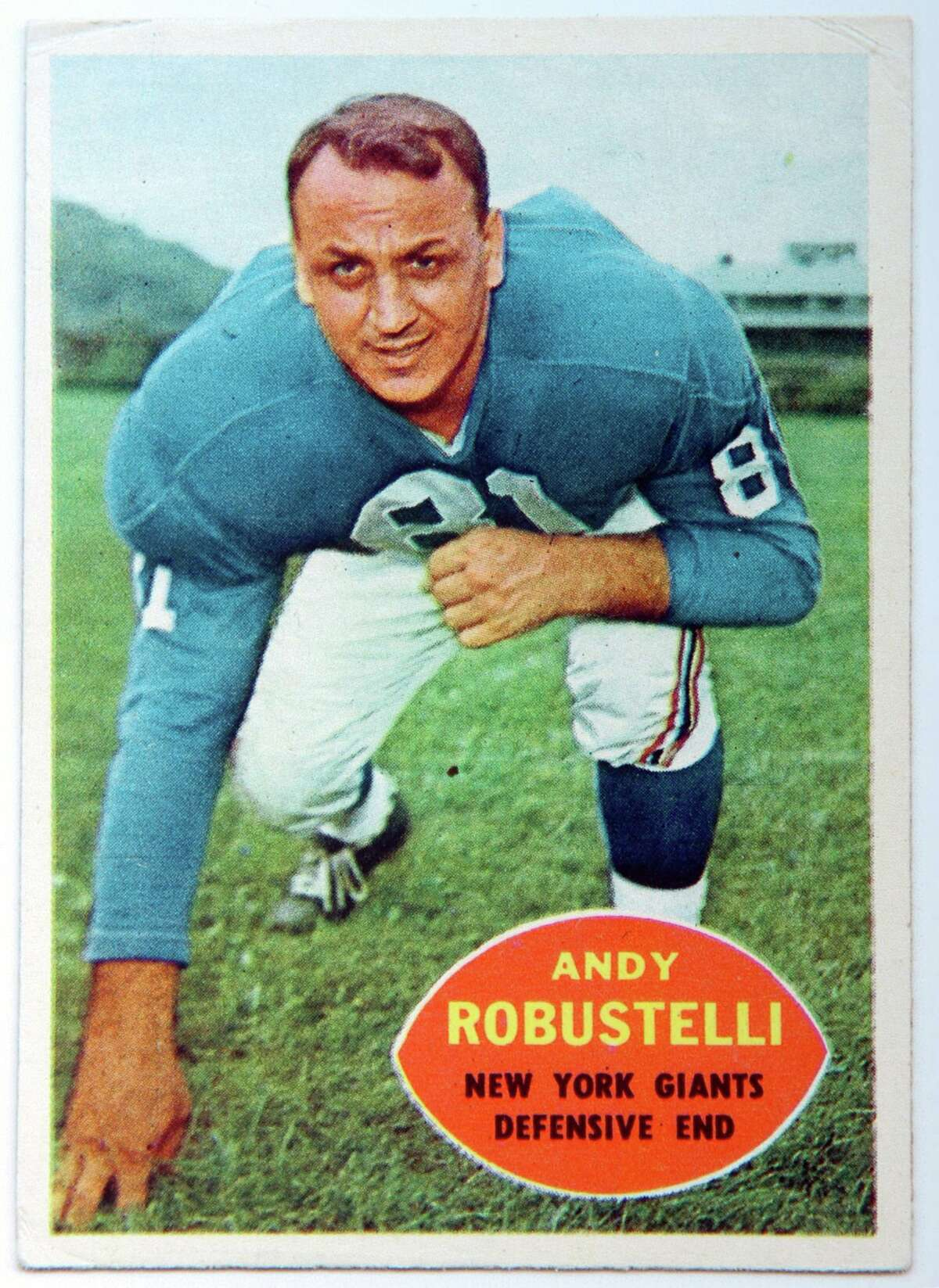 Andy Robustelli's trading card from his playing days with the New York Giants.